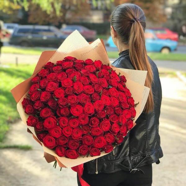 букет 101 красная роза купить