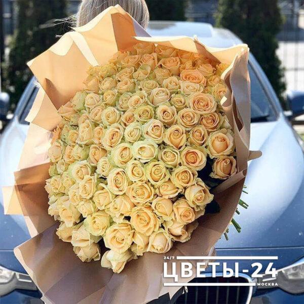 101 кремовая роза 50 см купить