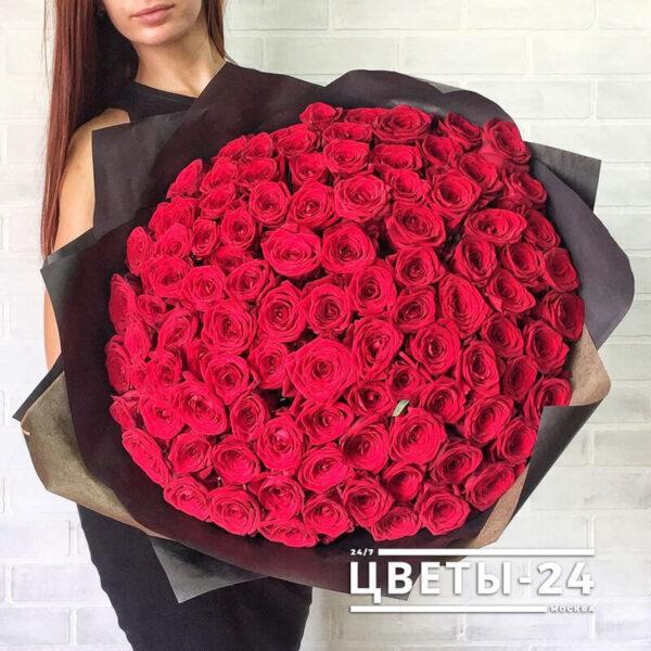 101 красная роза 70 см купить