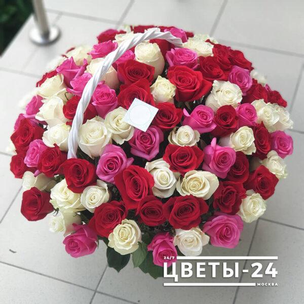101 роза в корзине Москва