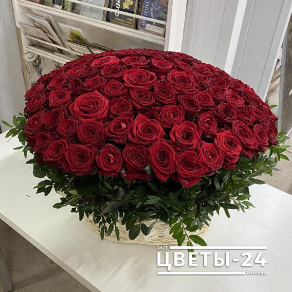101 роза в корзине купить