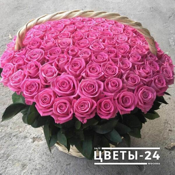 101 роза в корзине доставка