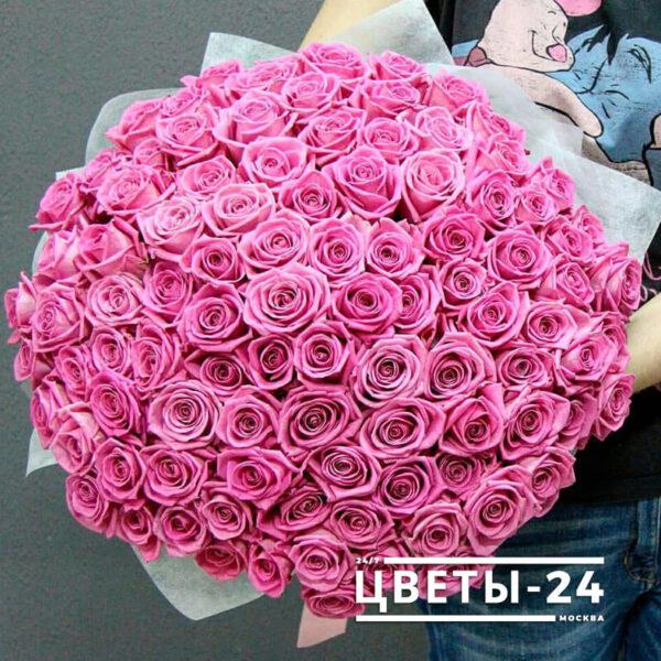 101 розовая роза 50 см купить