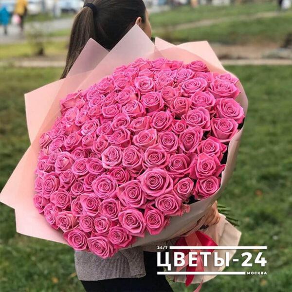 101 розовая роза 70 см купить