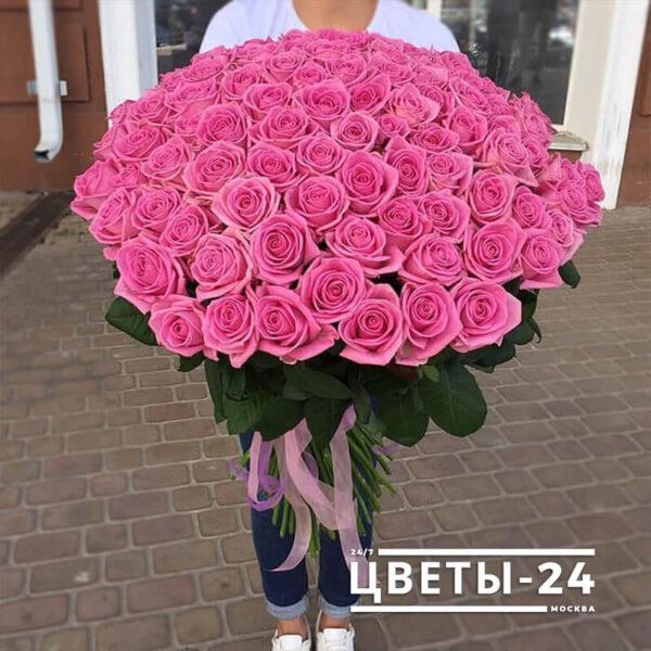 101 розовая роза 80 см купить