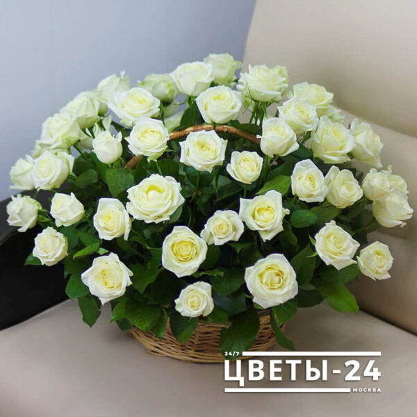 51 роза в корзине доставка