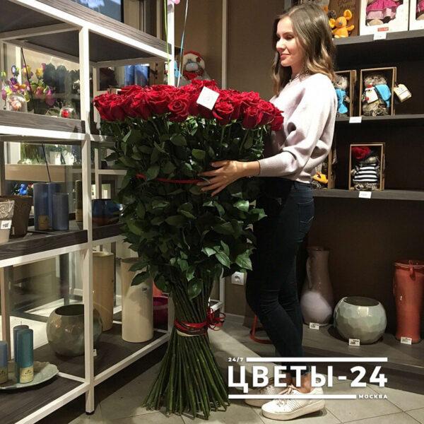 купить длинные розы Москва