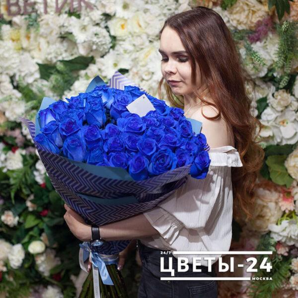 доставка синих роз москва