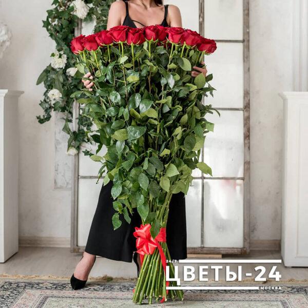 красные высокие розы купить